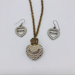 Juicy Couture Heart Bling Necklace with crown.